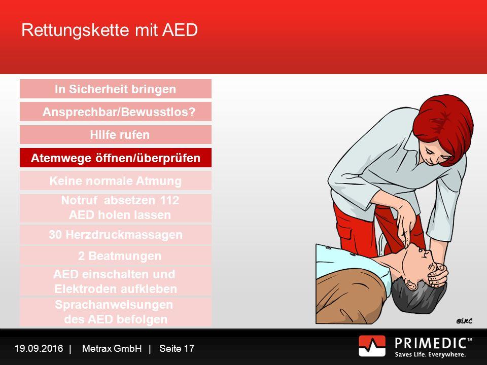 19.09.2016 | Metrax GmbH | Seite 16 Rettungskette mit AED In Sicherheit bringen Ansprechbar/Bewusstlos.