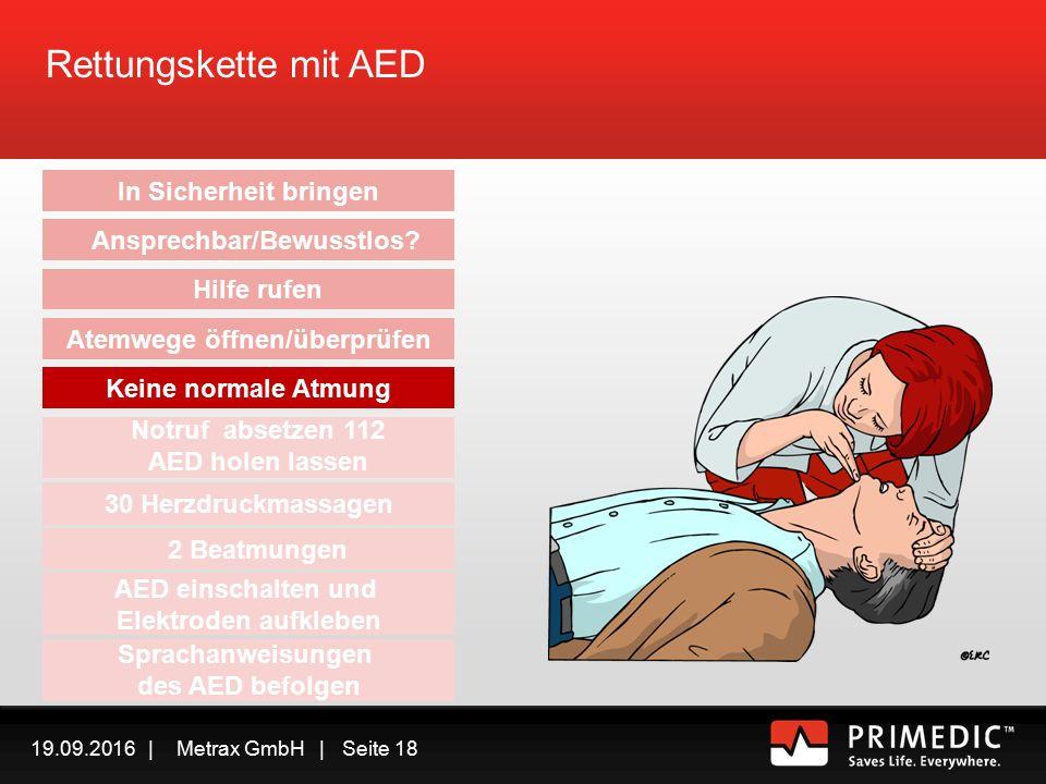 19.09.2016 | Metrax GmbH | Seite 17 Rettungskette mit AED In Sicherheit bringen Ansprechbar/Bewusstlos.