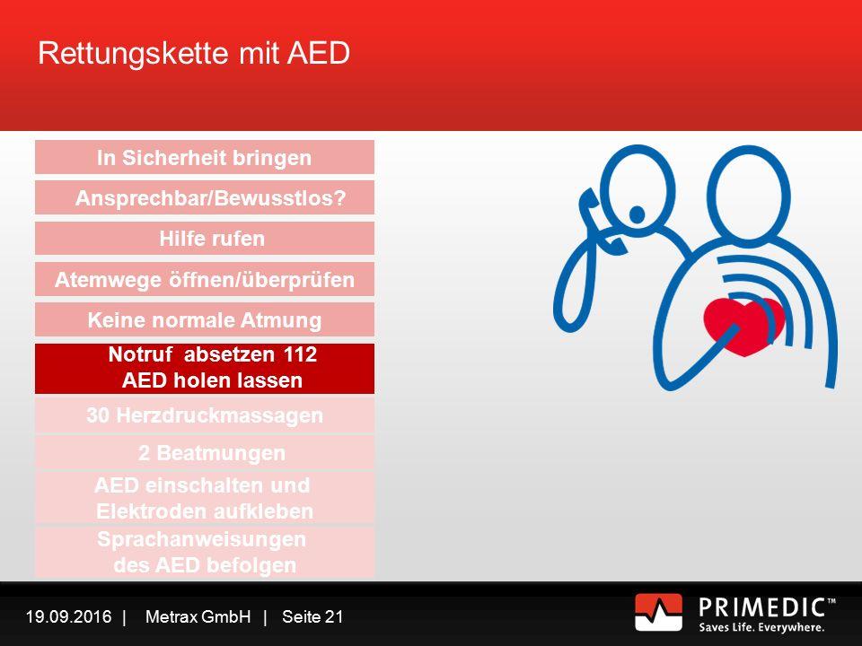 19.09.2016 | Metrax GmbH | Seite 20 Rettungskette mit AED – Atemwege überprüfen  Kein Atem oder eine Schnappatmung kann ein Hinweis für einen plötzlichen Herztod oder einen Herzstillstand sein  Verwechseln Sie eine Schnappatmung nicht mit einer normalen Atmung