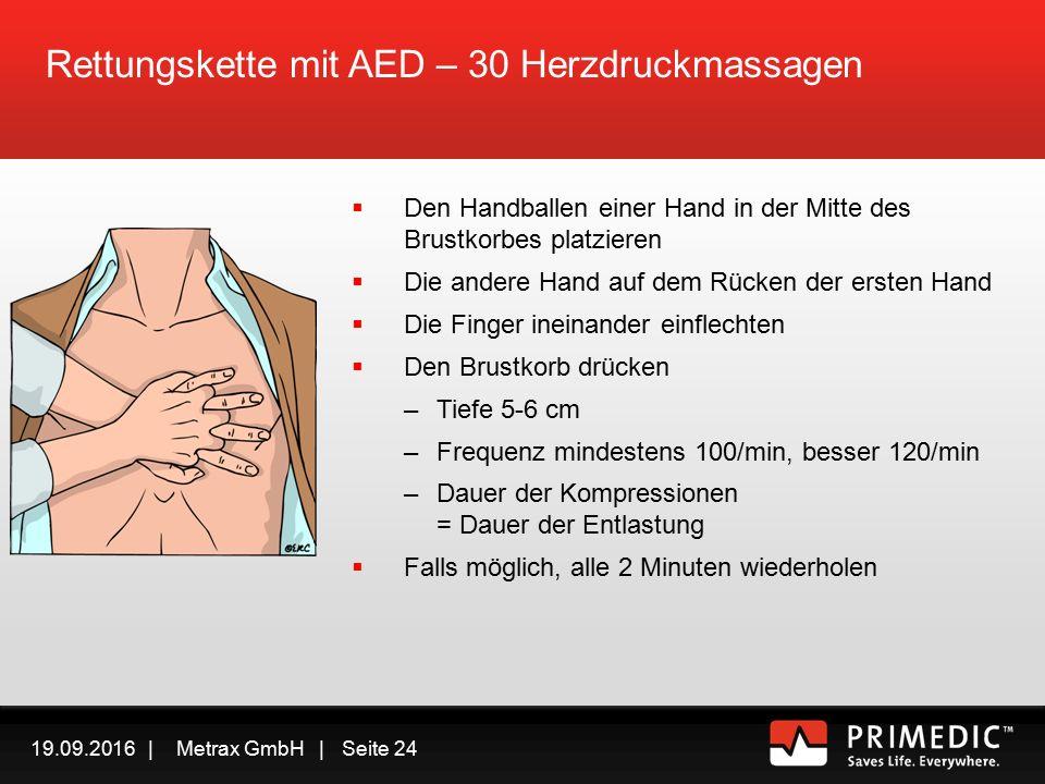 19.09.2016 | Metrax GmbH | Seite 23 Rettungskette mit AED In Sicherheit bringen Ansprechbar/Bewusstlos.