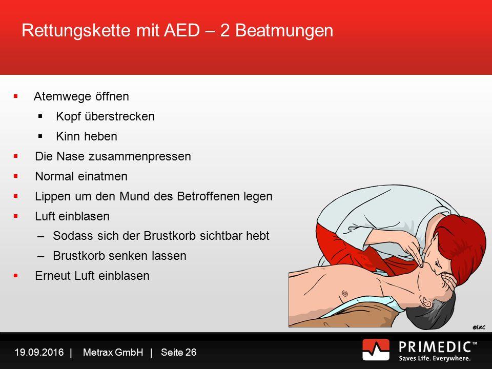 19.09.2016 | Metrax GmbH | Seite 25 Rettungskette mit AED In Sicherheit bringen Ansprechbar/Bewusstlos.