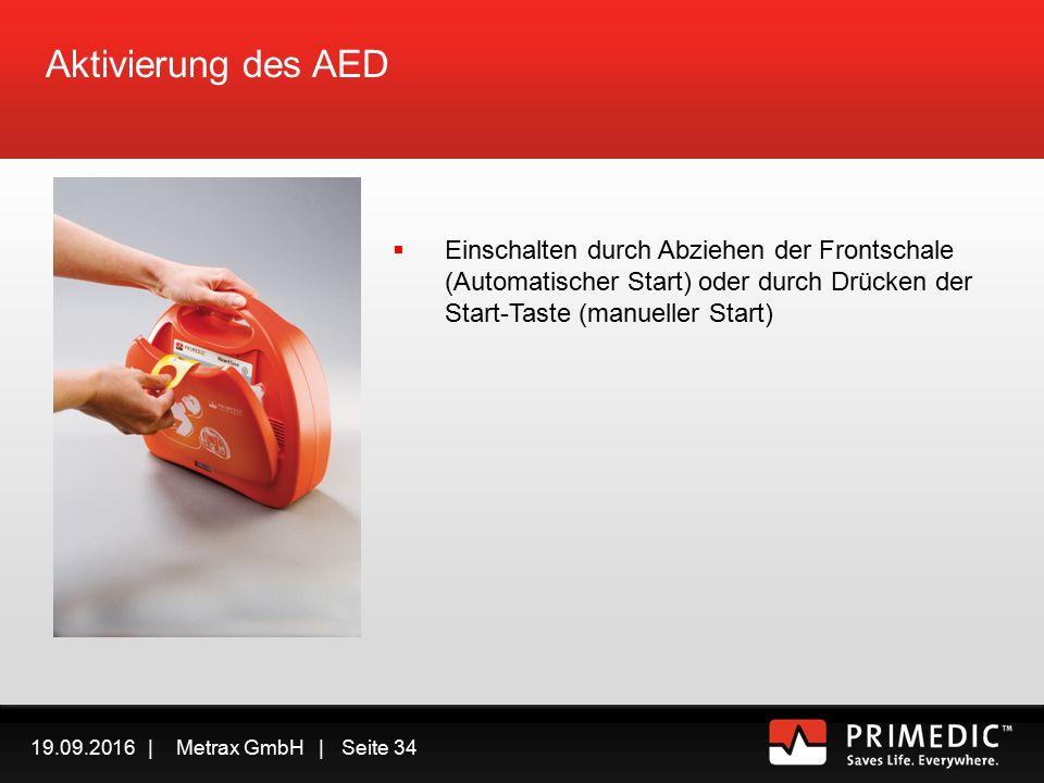 19.09.2016 | Metrax GmbH | Seite 33 Rettungskette mit AED In Sicherheit bringen Ansprechbar/Bewusstlos.