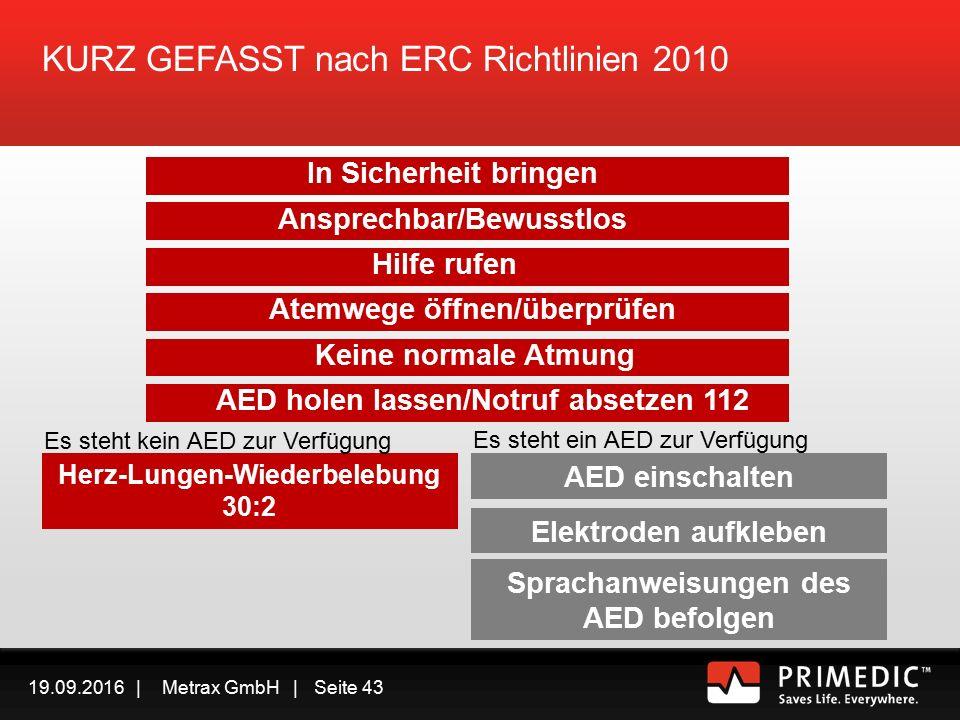 19.09.2016 | Metrax GmbH | Seite 42 Falls Normale Atmung erfolgt – Sichere Seitenlage