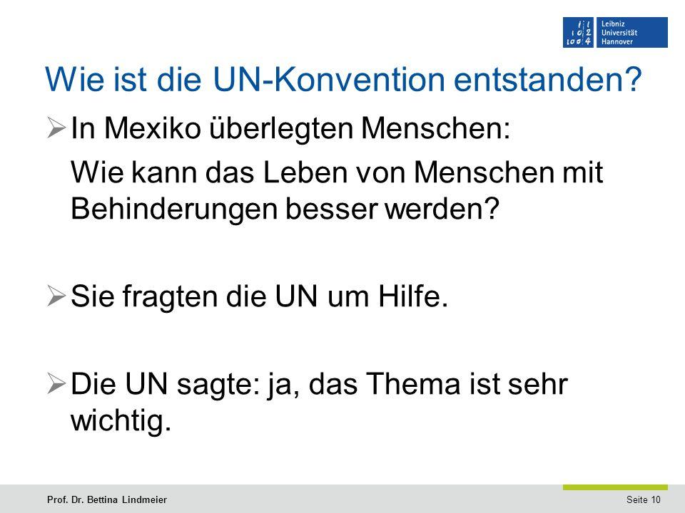 Seite 10Prof. Dr. Bettina Lindmeier Wie ist die UN-Konvention entstanden.