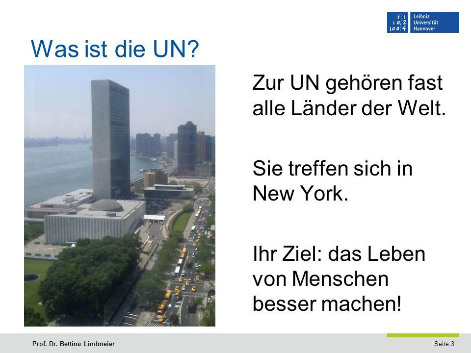 Seite 3Prof. Dr. Bettina Lindmeier Was ist die UN.