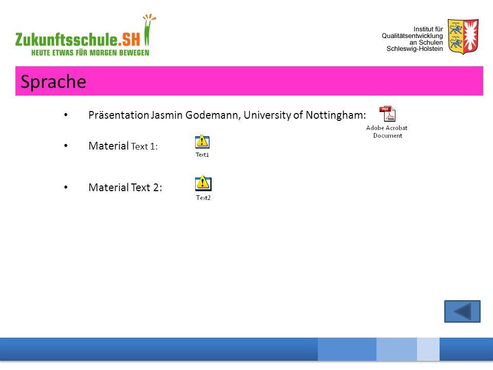 Präsentation Jasmin Godemann, University of Nottingham: Material Text 1: Material Text 2: Sprache