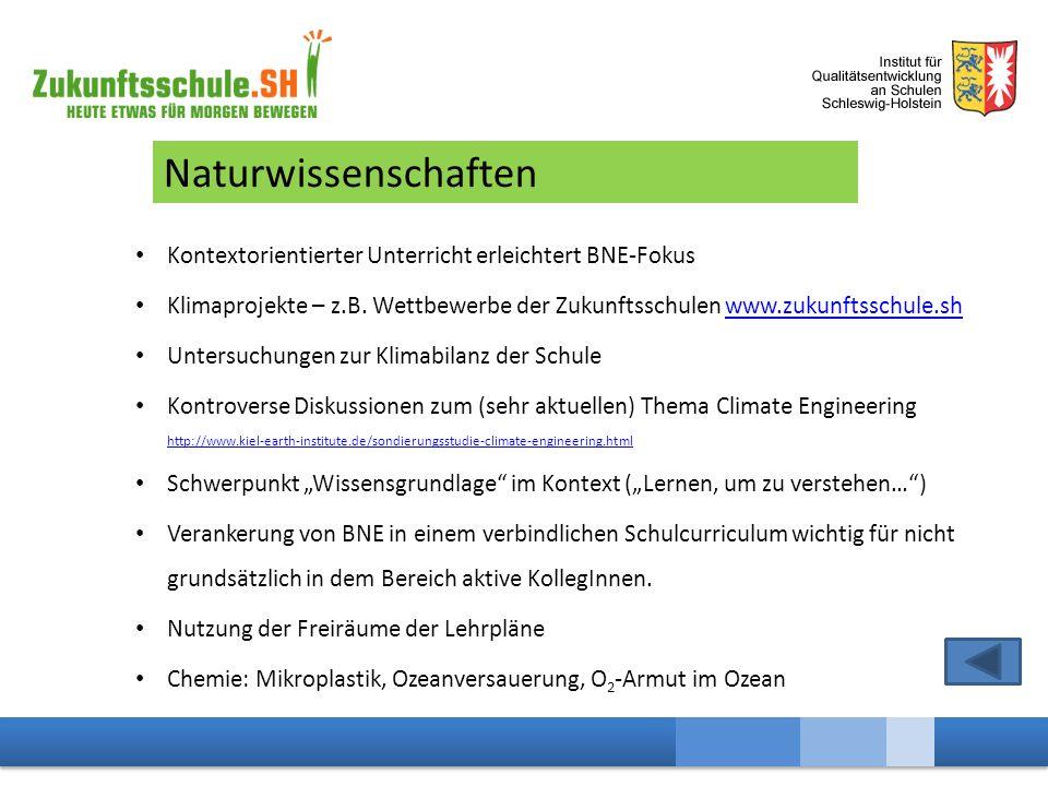 Naturwissenschaften Kontextorientierter Unterricht erleichtert BNE-Fokus Klimaprojekte – z.B.