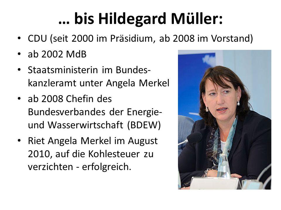 … bis Hildegard Müller: CDU (seit 2000 im Präsidium, ab 2008 im Vorstand) ab 2002 MdB Staatsministerin im Bundes- kanzleramt unter Angela Merkel ab 20