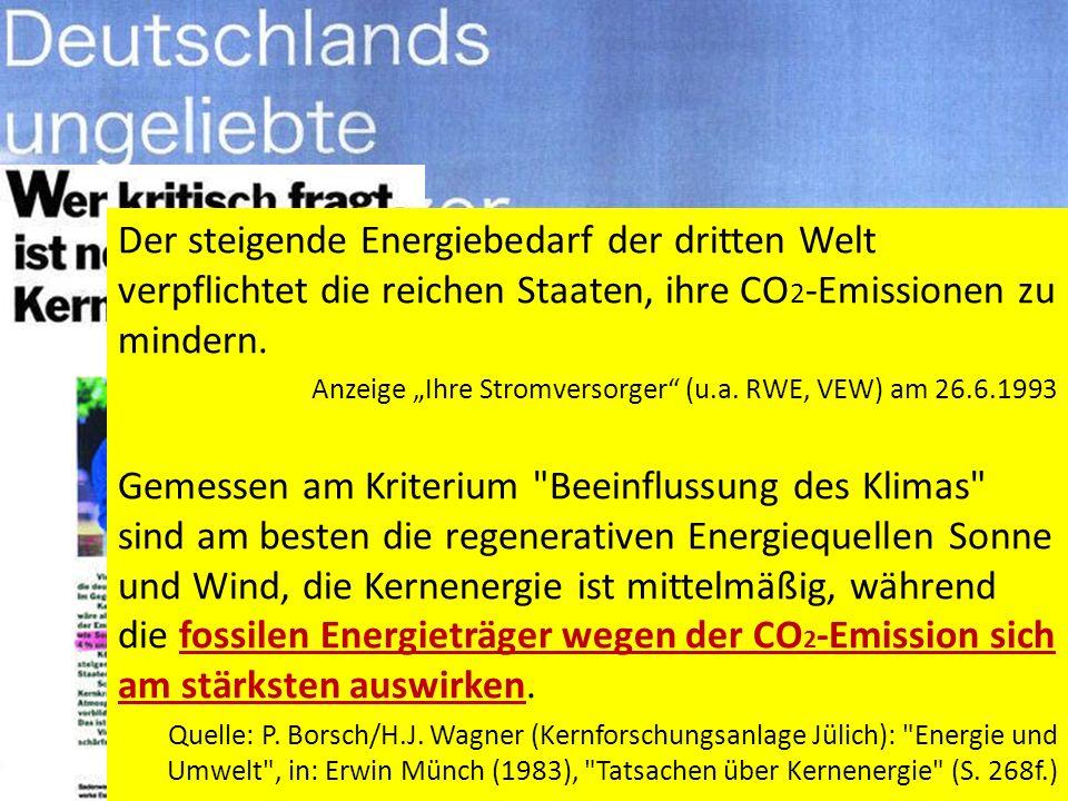 RWE & Co. schreiben das selbst! Zitate aus ihrer Atomwerbung: An dem Treibhauseffekt haben das Kohlendioxid und das Methan mit 50% bzw. 19% den größte