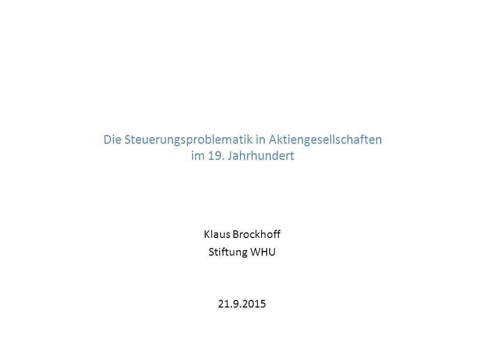 Die Steuerungsproblematik in Aktiengesellschaften im 19.