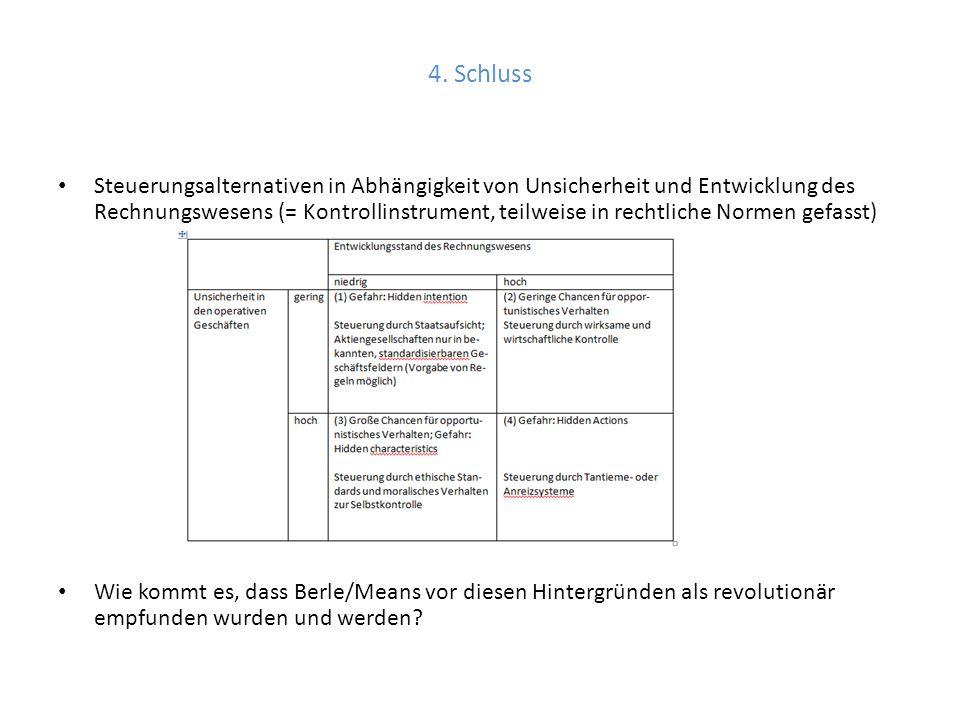 4. Schluss Steuerungsalternativen in Abhängigkeit von Unsicherheit und Entwicklung des Rechnungswesens (= Kontrollinstrument, teilweise in rechtliche