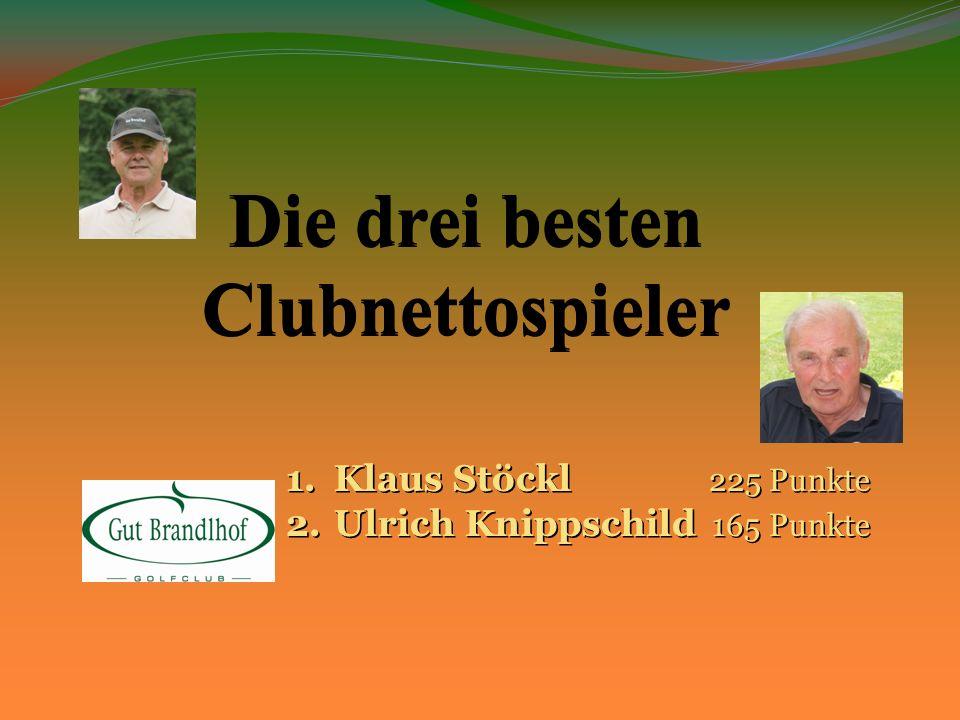 Die drei besten Clubnettospieler 1.Klaus Stöckl 225 Punkte 2.Ulrich Knippschild 165 Punkte