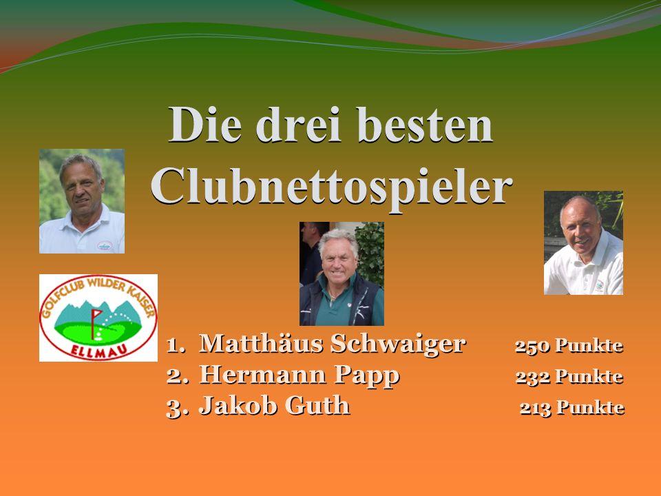 Die drei besten Clubnettospieler 1.Matthäus Schwaiger 250 Punkte 2.Hermann Papp 232 Punkte 3.Jakob Guth 213 Punkte