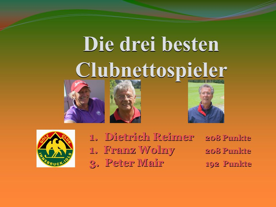 Die drei besten Clubnettospieler 1.Dietrich Reimer 208 Punkte 1.