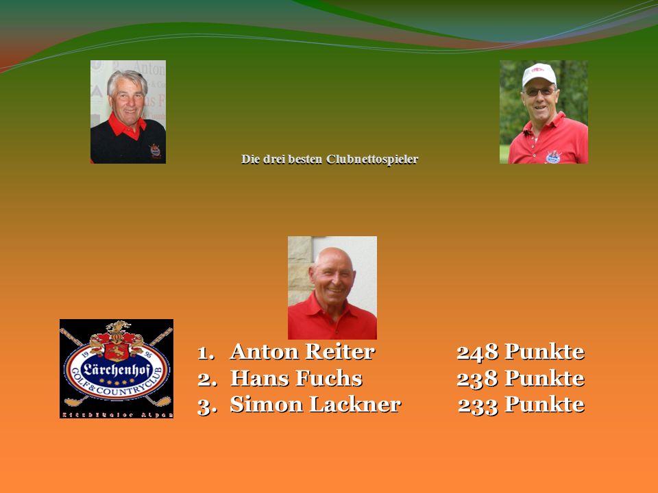 Die drei besten Clubnettospieler 1.Anton Reiter 248 Punkte 2.Hans Fuchs 238 Punkte 3.Simon Lackner 233 Punkte
