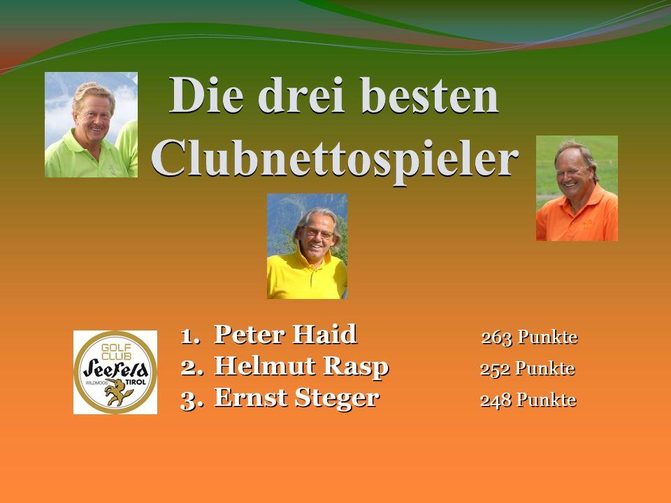 Die drei besten Clubnettospieler 1.Peter Haid 263 Punkte 2.Helmut Rasp 252 Punkte 3.Ernst Steger 248 Punkte