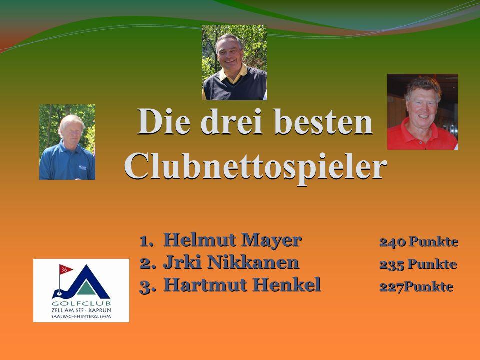 Die drei besten Clubnettospieler 1.Helmut Mayer 240 Punkte 2.Jrki Nikkanen 235 Punkte 3.Hartmut Henkel 227Punkte