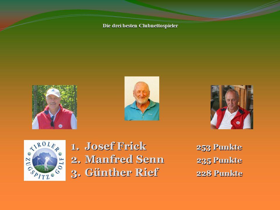 Die drei besten Clubnettospieler 1.Josef Frick 253 Punkte 2.Manfred Senn 235 Punkte 3.Günther Rief 228 Punkte
