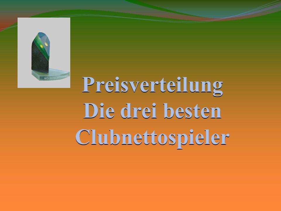 Die drei besten Clubnettospieler 1.Hannes Senn 239 Punkte 2.Peter Adelsgruber 227 Punkte 3.Romed Meirer 226 Punkte 3.
