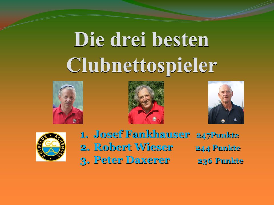 Die drei besten Clubnettospieler 1.J osef Fankhauser 247Punkte 2.R obert Wieser 244 Punkte 3.P eter Daxerer 236 Punkte