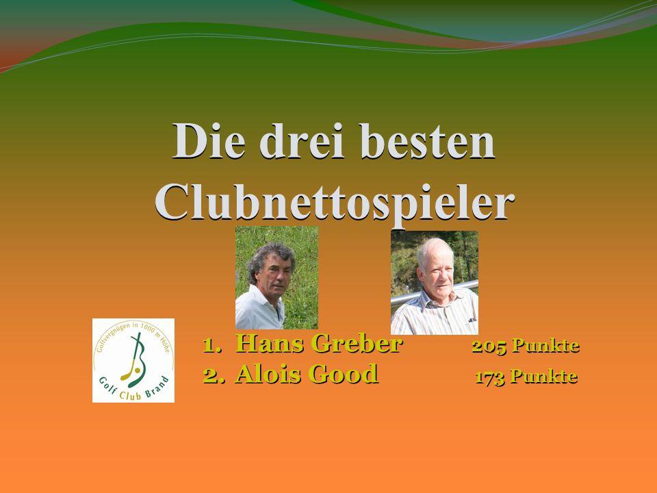 Die drei besten Clubnettospieler 1.Hans Greber 205 Punkte 2.Alois Good 173 Punkte