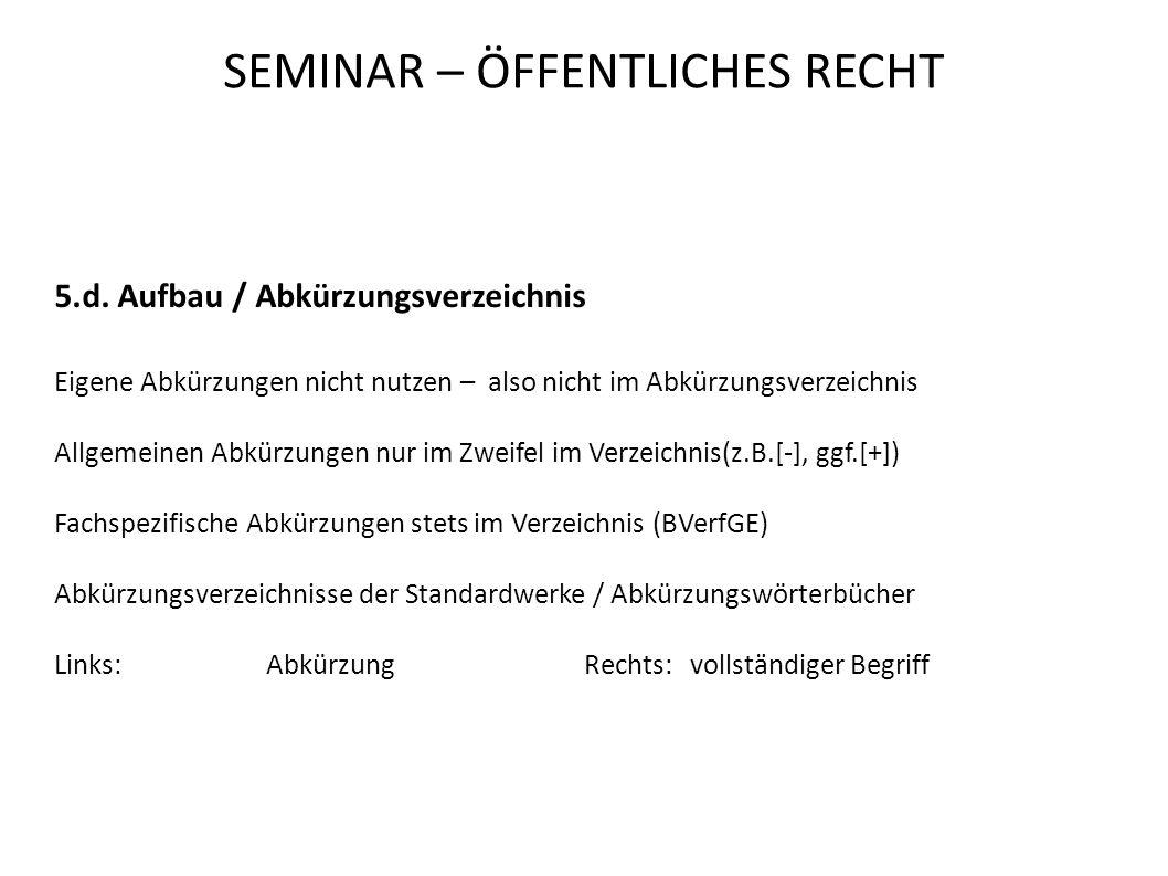 SEMINAR – ÖFFENTLICHES RECHT 5.d.
