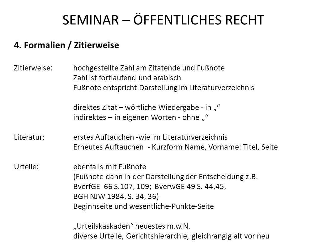SEMINAR – ÖFFENTLICHES RECHT 4.