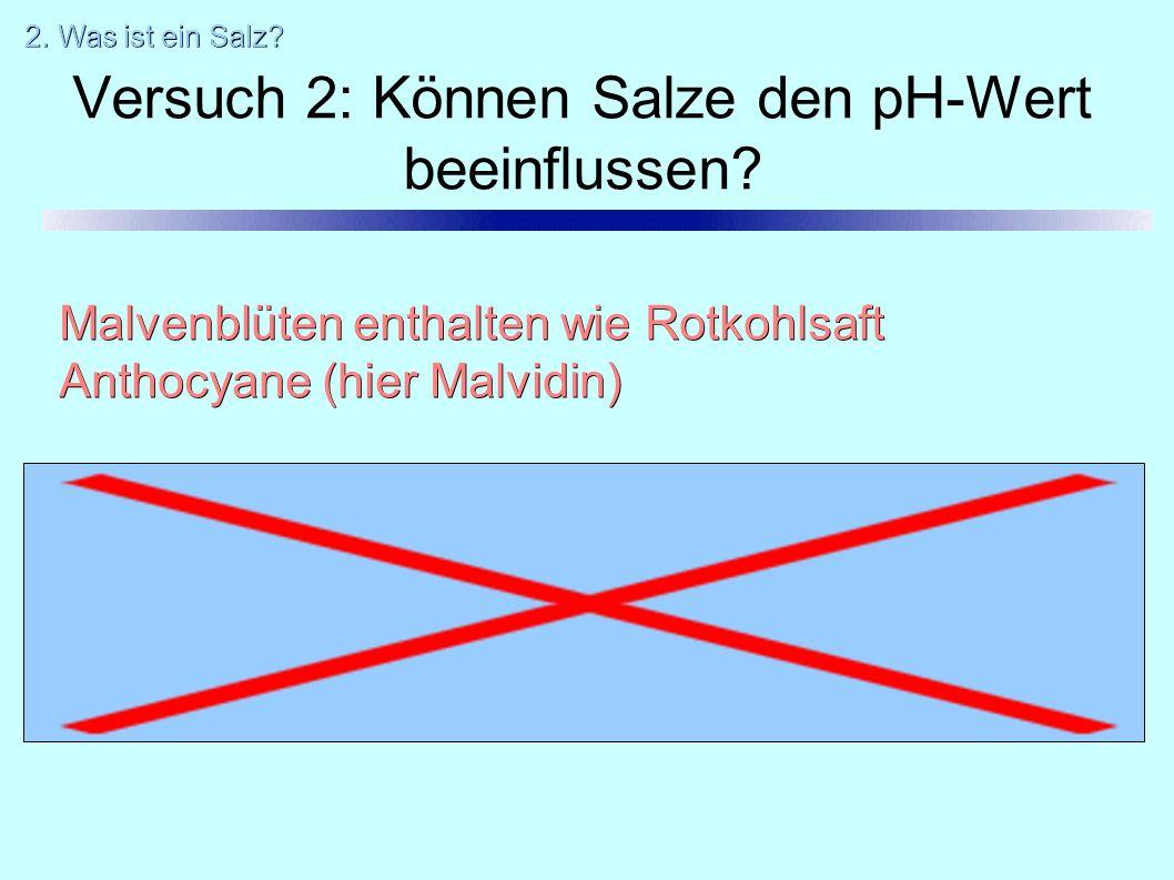 Versuch 2: Können Salze den pH-Wert beeinflussen.