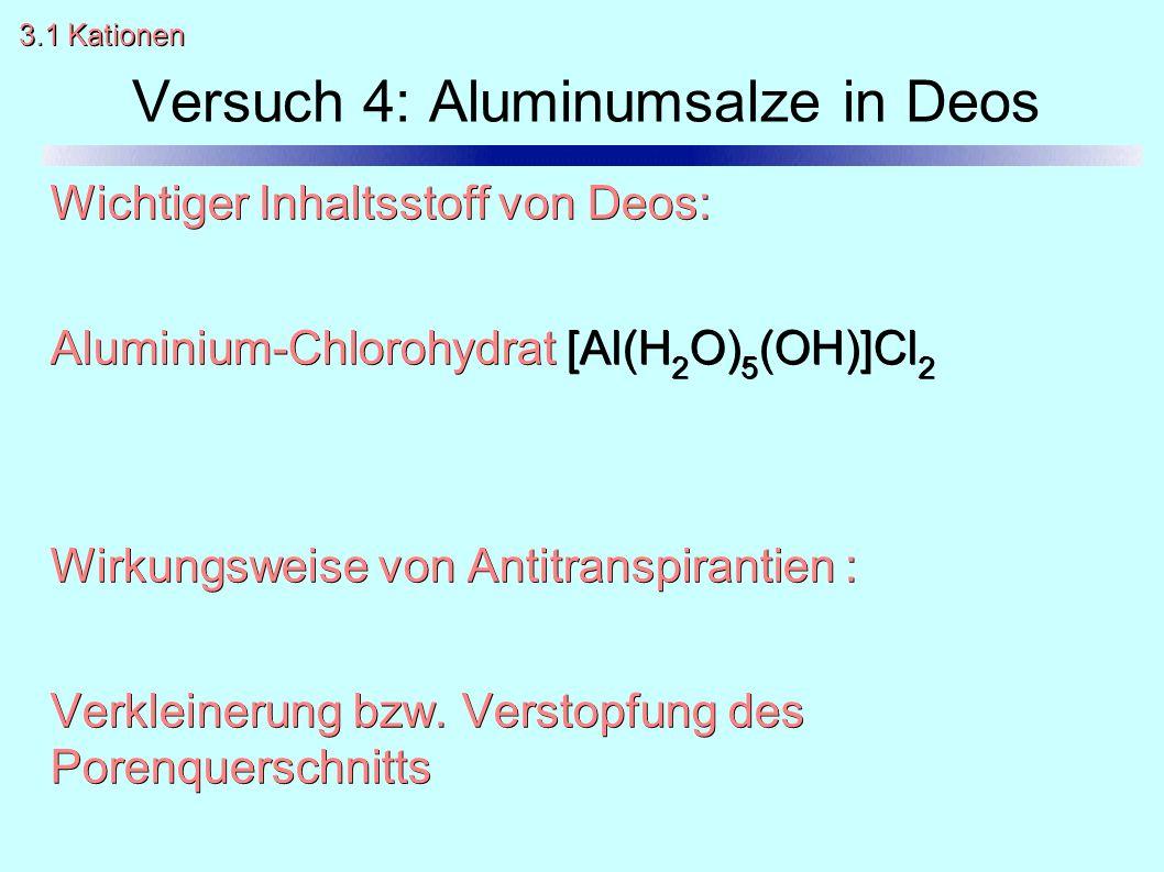 Wichtiger Inhaltsstoff von Deos: Aluminium-Chlorohydrat [Al(H 2 O) 5 (OH)]Cl 2 Wirkungsweise von Antitranspirantien : Verkleinerung bzw. Verstopfung d