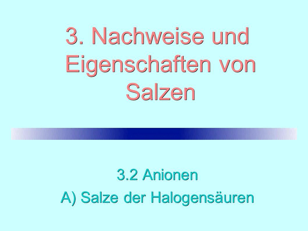 3. Nachweise und Eigenschaften von Salzen 3.2 Anionen A) Salze der Halogensäuren