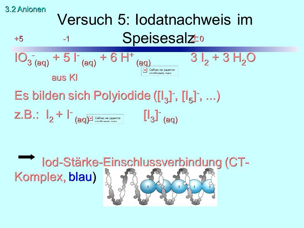 +5 -1 ± 0 IO 3 - (aq) + 5 I - (aq) + 6 H + (aq) 3 I 2 + 3 H 2 O aus KI Es bilden sich Polyiodide ([I 3 ] -, [I 5 ] -,...) z.B.: I 2 + I - (aq) [I 3 ] - (aq) Iod-Stärke-Einschlussverbindung (CT- Komplex, blau) Versuch 5: Iodatnachweis im Speisesalz 3.2 Anionen