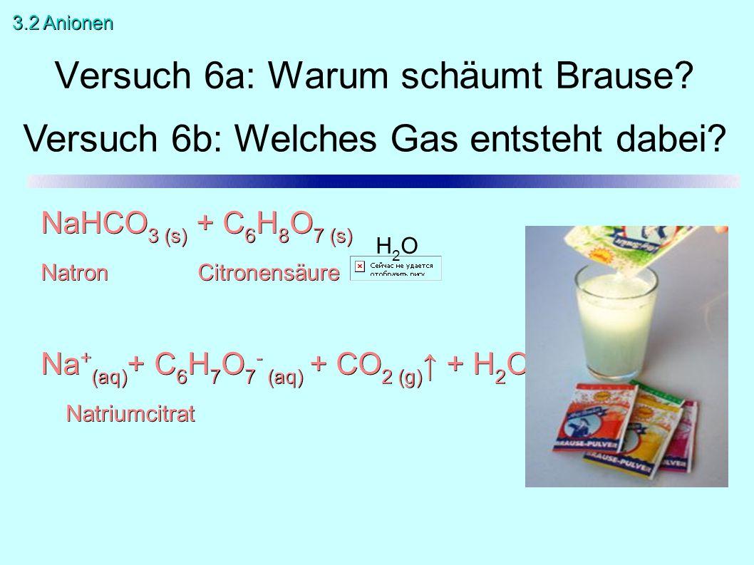 Versuch 6a: Warum schäumt Brause? NaHCO 3 (s) + C 6 H 8 O 7 (s) Natron Citronensäure Na + (aq) + C 6 H 7 O 7 - (aq) + CO 2 (g) ↑ + H 2 O Natriumcitrat