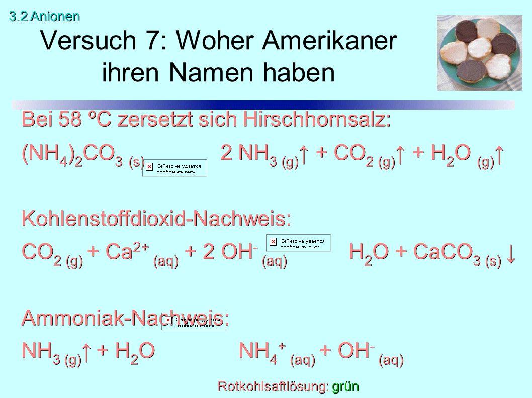Bei 58 ºC zersetzt sich Hirschhornsalz: (NH 4 ) 2 CO 3 (s) 2 NH 3 (g) ↑ + CO 2 (g) ↑ + H 2 O (g) ↑ Kohlenstoffdioxid-Nachweis: CO 2 (g) + Ca 2+ (aq) + 2 OH - (aq) H 2 O + CaCO 3 (s) ↓ Ammoniak-Nachweis: NH 3 (g) ↑ + H 2 O NH 4 + (aq) + OH - (aq) Rotkohlsaftlösung: grün Versuch 7: Woher Amerikaner ihren Namen haben 3.2 Anionen