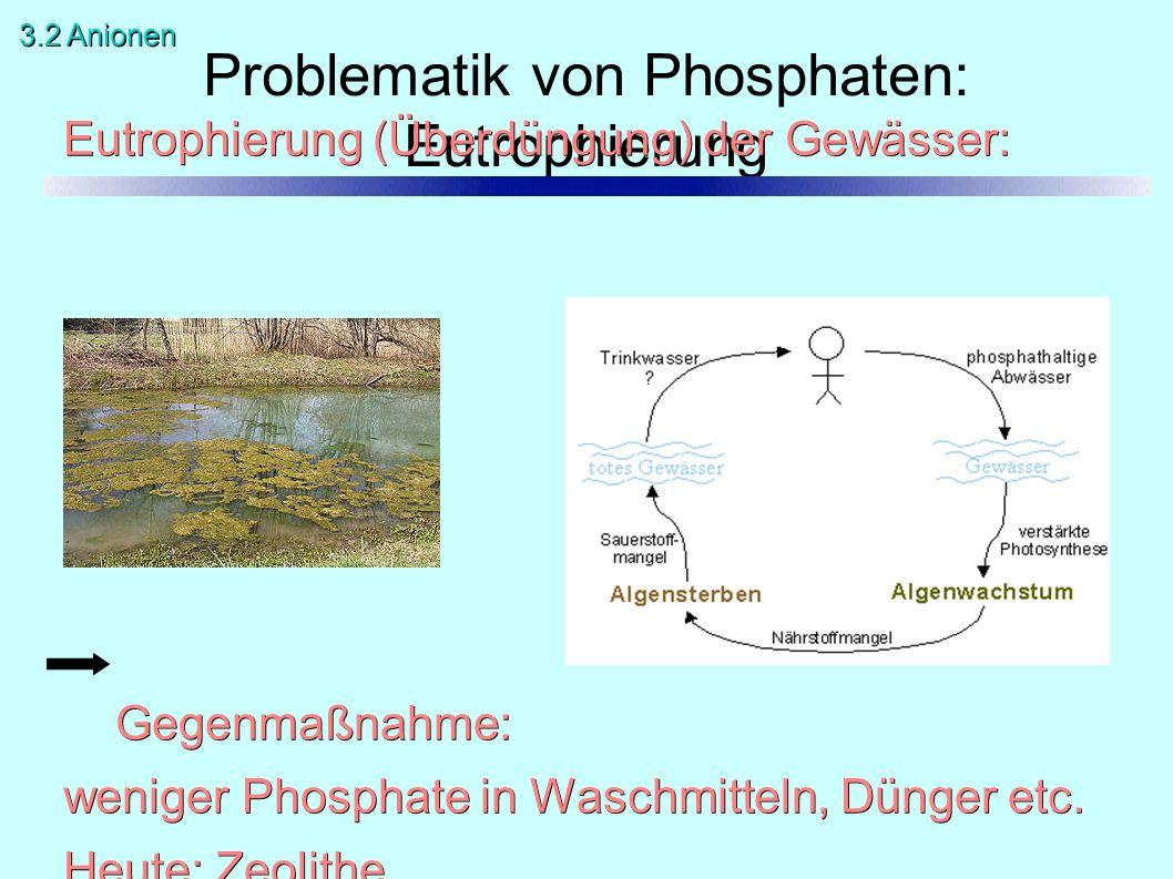 Problematik von Phosphaten: Eutrophierung Eutrophierung (Überdüngung) der Gewässer: Gegenmaßnahme: weniger Phosphate in Waschmitteln, Dünger etc. Heut
