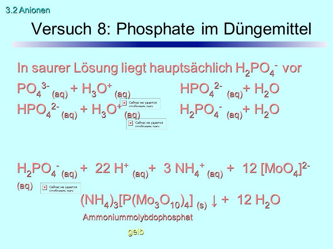 In saurer Lösung liegt hauptsächlich H 2 PO 4 - vor PO 4 3- (aq) + H 3 O + (aq) HPO 4 2- (aq) + H 2 O HPO 4 2- (aq) + H 3 O + (aq) H 2 PO 4 - (aq) + H 2 O H 2 PO 4 - (aq) + 22 H + (aq) + 3 NH 4 + (aq) + 12 [MoO 4 ] 2- (aq) (NH 4 ) 3 [P(Mo 3 O 10 ) 4 ] (s) ↓ + 12 H 2 O Ammoniummolybdophosphat gelb Versuch 8: Phosphate im Düngemittel 3.2 Anionen