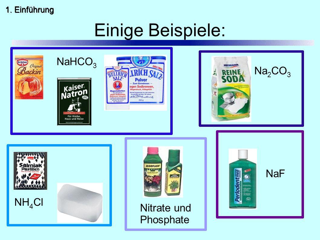 Einige Beispiele: NaHCO 3 Na 2 CO 3 NH 4 Cl Nitrate und Phosphate NaF 1. Einführung