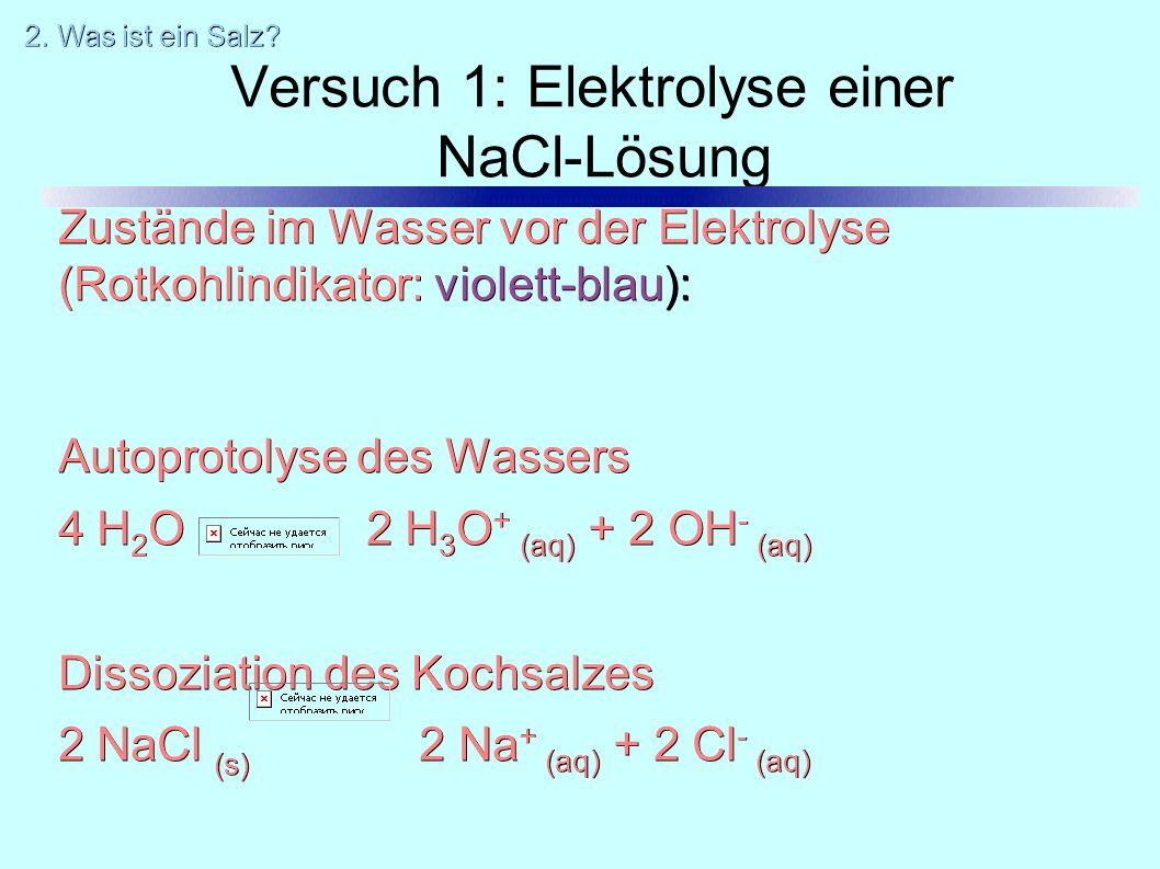 Versuch 1: Elektrolyse einer NaCl-Lösung Zustände im Wasser vor der Elektrolyse (Rotkohlindikator: violett-blau): Autoprotolyse des Wassers 4 H 2 O 2 H 3 O + (aq) + 2 OH - (aq) Dissoziation des Kochsalzes 2 NaCl (s) 2 Na + (aq) + 2 Cl - (aq) 2.