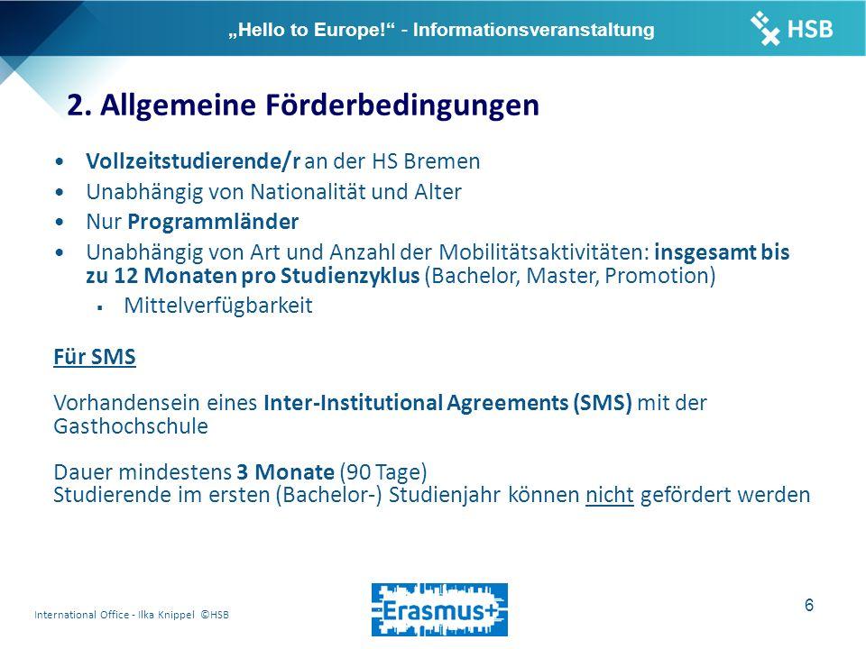 "International Office - Ilka Knippel ©HSB 7 ""Hello to Europe! - Informationsveranstaltung 2."