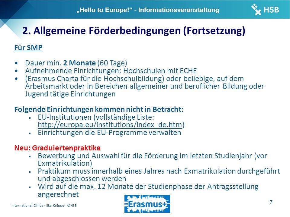 "International Office - Ilka Knippel ©HSB 8 ""Hello to Europe! - Informationsveranstaltung 3."