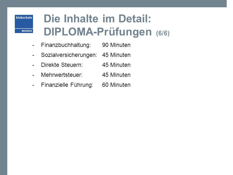 Die Inhalte im Detail: DIPLOMA-Prüfungen (6/6) -Finanzbuchhaltung: 90 Minuten -Sozialversicherungen: 45 Minuten -Direkte Steuern: 45 Minuten -Mehrwert