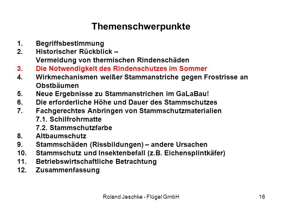Roland Jeschke - Flügel GmbH16 Themenschwerpunkte 1.Begriffsbestimmung 2.Historischer Rückblick – Vermeidung von thermischen Rindenschäden 3.Die Notwendigkeit des Rindenschutzes im Sommer 4.