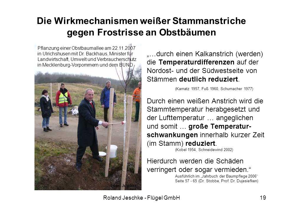 """Roland Jeschke - Flügel GmbH19 Die Wirkmechanismen weißer Stammanstriche gegen Frostrisse an Obstbäumen """"…durch einen Kalkanstrich (werden) die Temperaturdifferenzen auf der Nordost- und der Südwestseite von Stämmen deutlich reduziert."""