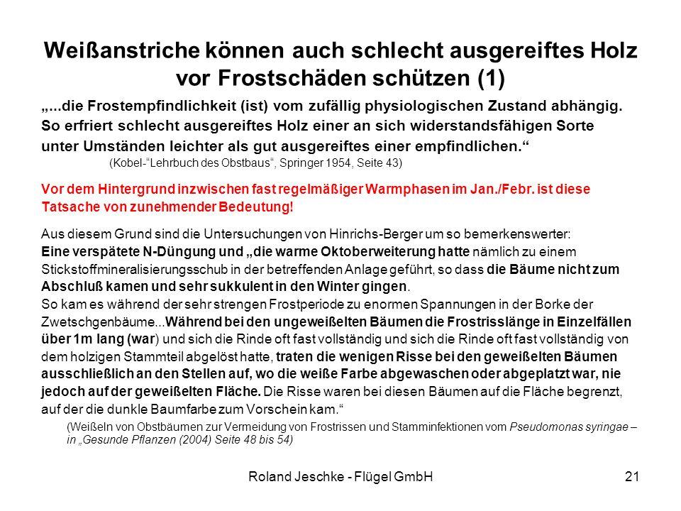 """Roland Jeschke - Flügel GmbH21 Weißanstriche können auch schlecht ausgereiftes Holz vor Frostschäden schützen (1) """"...die Frostempfindlichkeit (ist) vom zufällig physiologischen Zustand abhängig."""