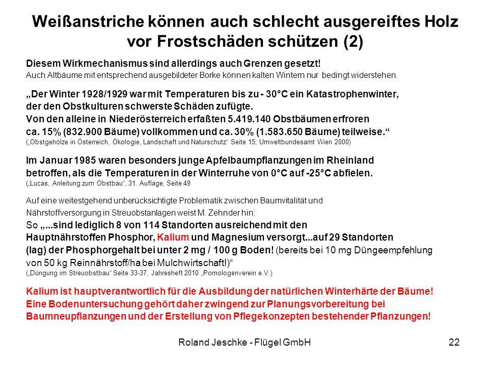 Roland Jeschke - Flügel GmbH22 Weißanstriche können auch schlecht ausgereiftes Holz vor Frostschäden schützen (2) Diesem Wirkmechanismus sind allerdings auch Grenzen gesetzt.