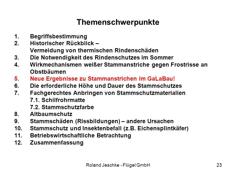 Roland Jeschke - Flügel GmbH23 Themenschwerpunkte 1.Begriffsbestimmung 2.Historischer Rückblick – Vermeidung von thermischen Rindenschäden 3.Die Notwendigkeit des Rindenschutzes im Sommer 4.