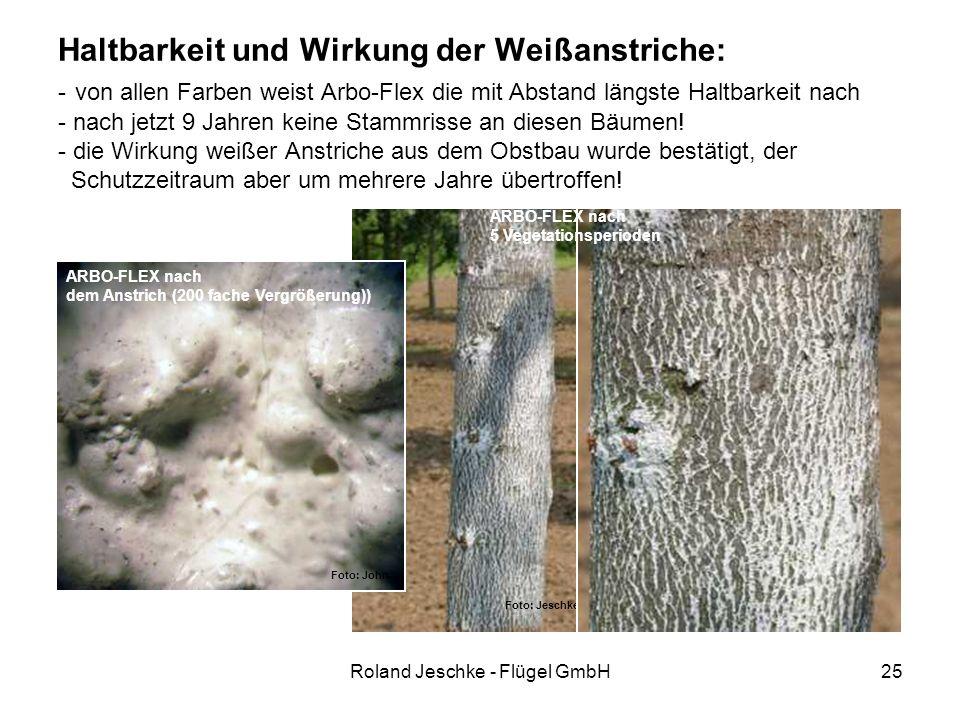 Roland Jeschke - Flügel GmbH25 Haltbarkeit und Wirkung der Weißanstriche: - von allen Farben weist Arbo-Flex die mit Abstand längste Haltbarkeit nach