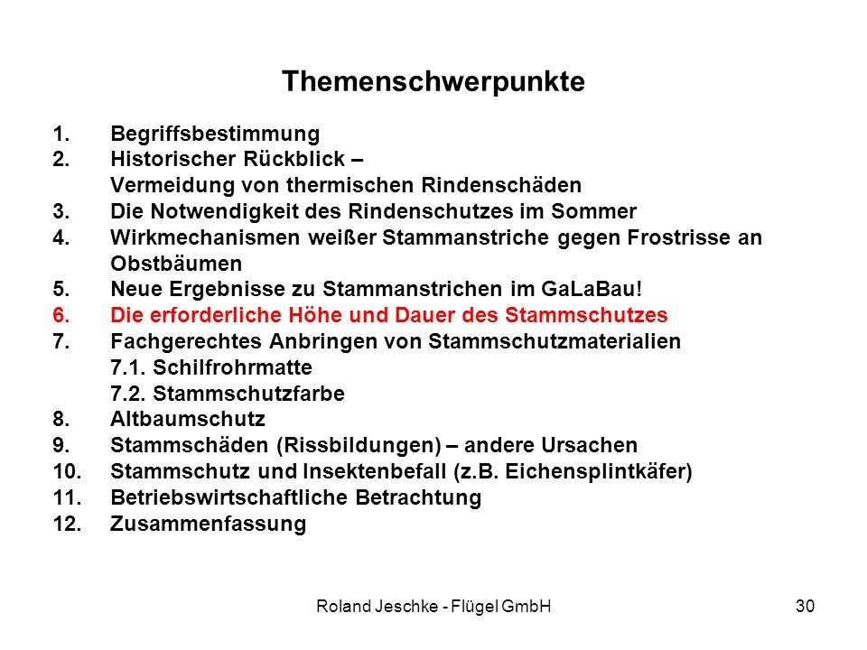 Roland Jeschke - Flügel GmbH30 Themenschwerpunkte 1.Begriffsbestimmung 2.Historischer Rückblick – Vermeidung von thermischen Rindenschäden 3.Die Notwendigkeit des Rindenschutzes im Sommer 4.