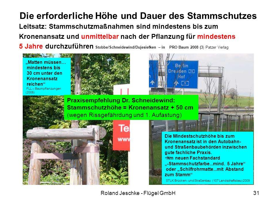 Roland Jeschke - Flügel GmbH31 Die erforderliche Höhe und Dauer des Stammschutzes Leitsatz: Stammschutzmaßnahmen sind mindestens bis zum Kronenansatz