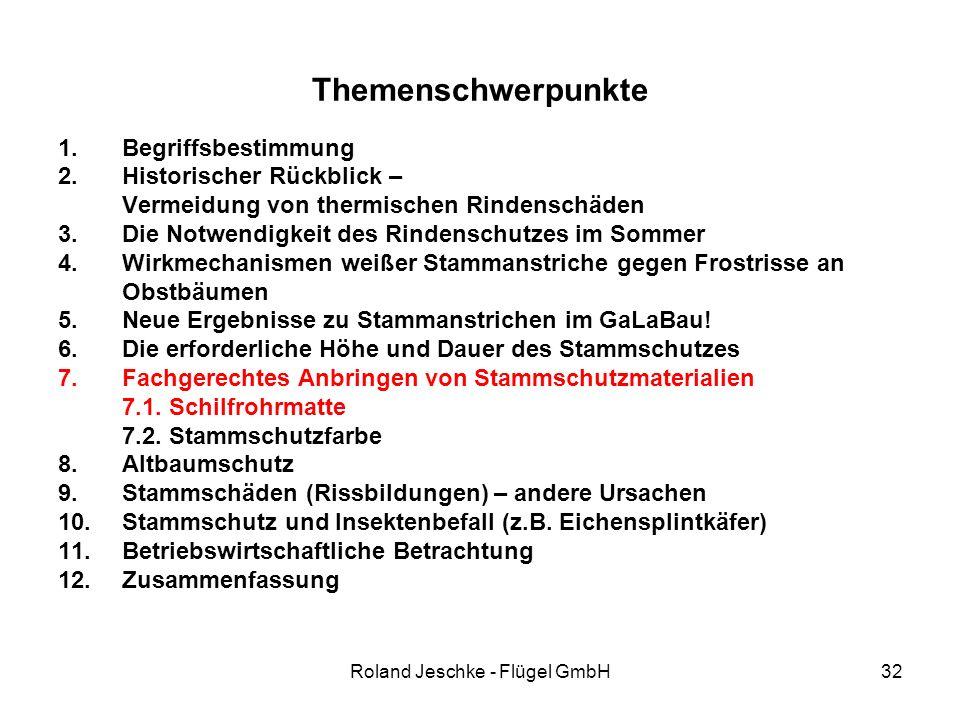 Roland Jeschke - Flügel GmbH32 Themenschwerpunkte 1.Begriffsbestimmung 2.Historischer Rückblick – Vermeidung von thermischen Rindenschäden 3.Die Notwendigkeit des Rindenschutzes im Sommer 4.