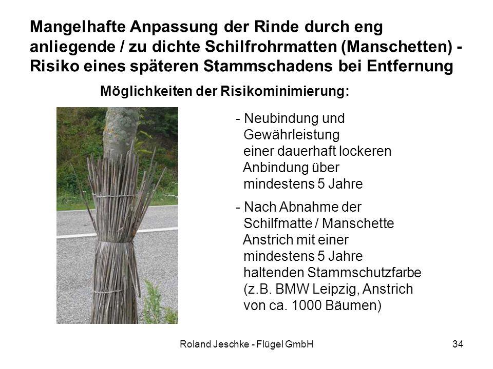 Roland Jeschke - Flügel GmbH34 Mangelhafte Anpassung der Rinde durch eng anliegende / zu dichte Schilfrohrmatten (Manschetten) - Risiko eines späteren